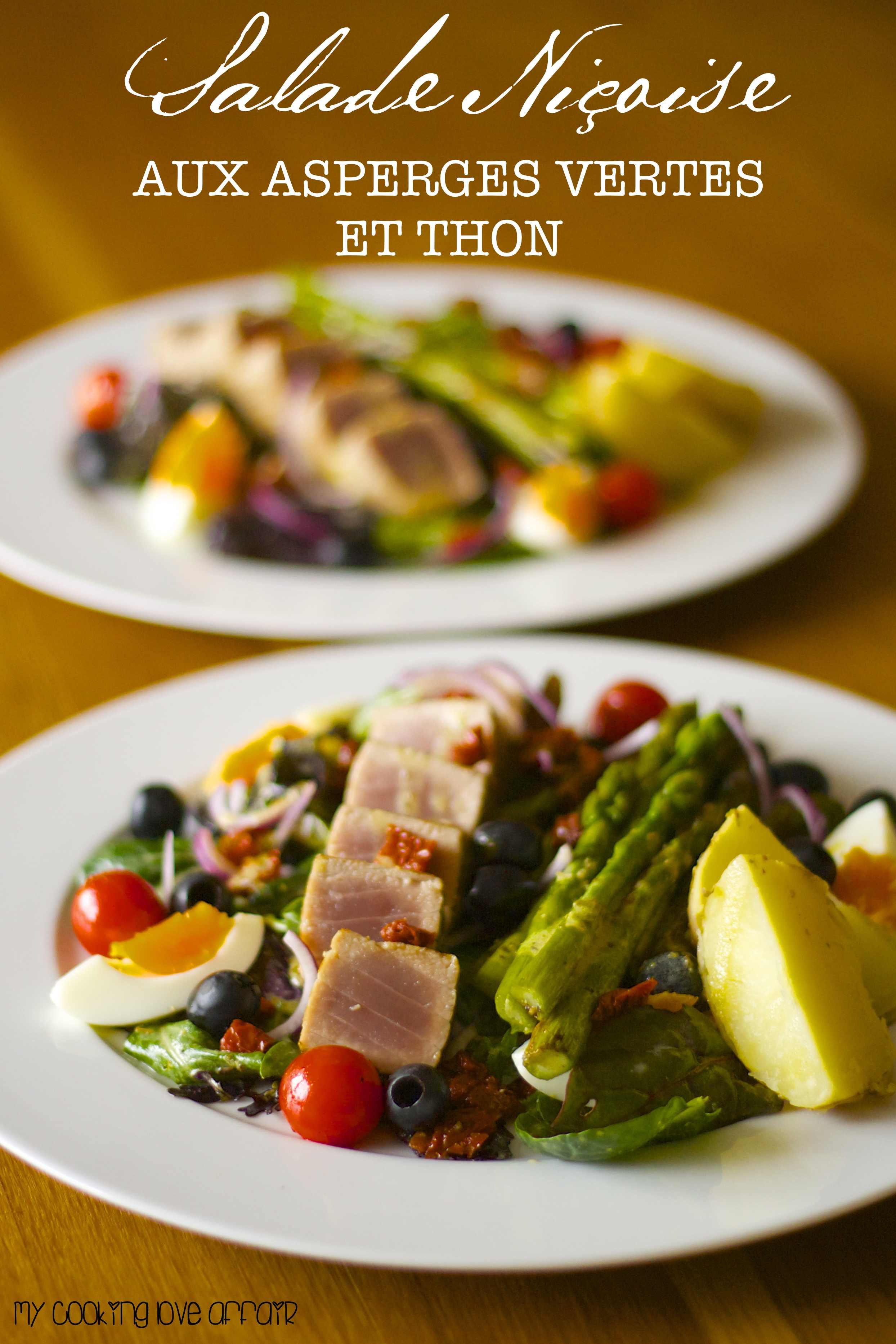 Salade Niçoise mit grünem Spargel