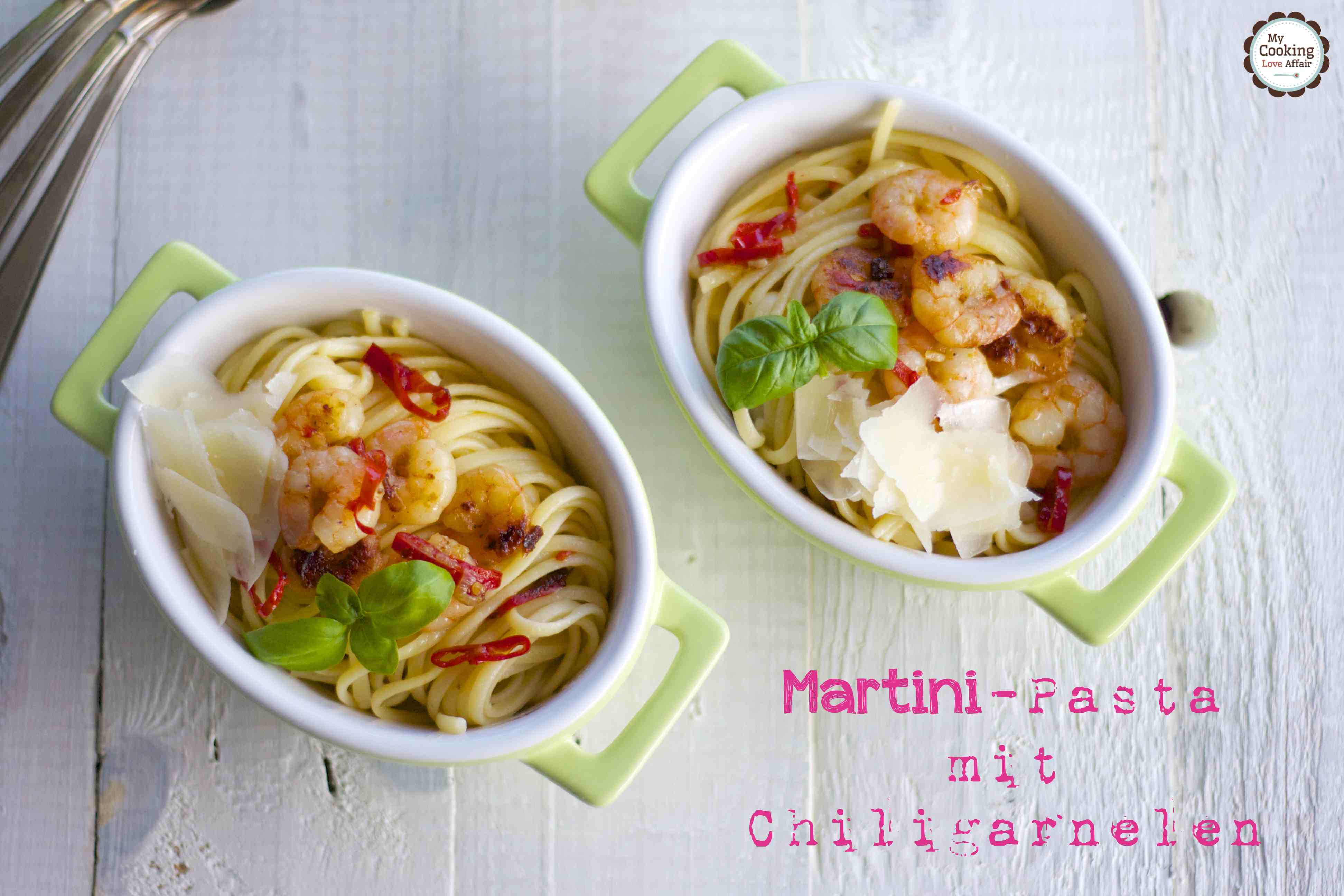 Martini-Pasta mit Chiligarnelen
