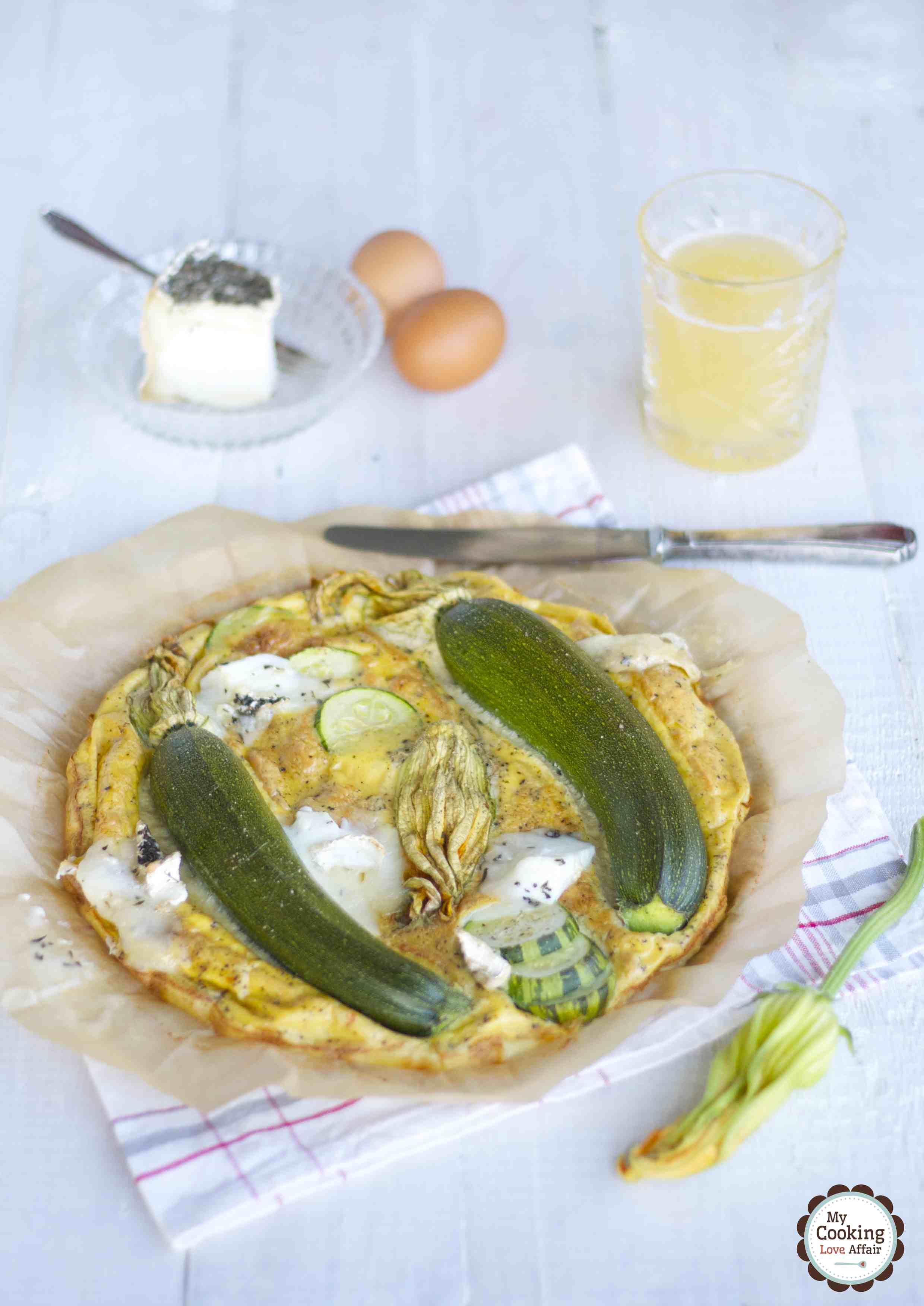 Frittata mit Zucchiniblüten und Ziegenkäse
