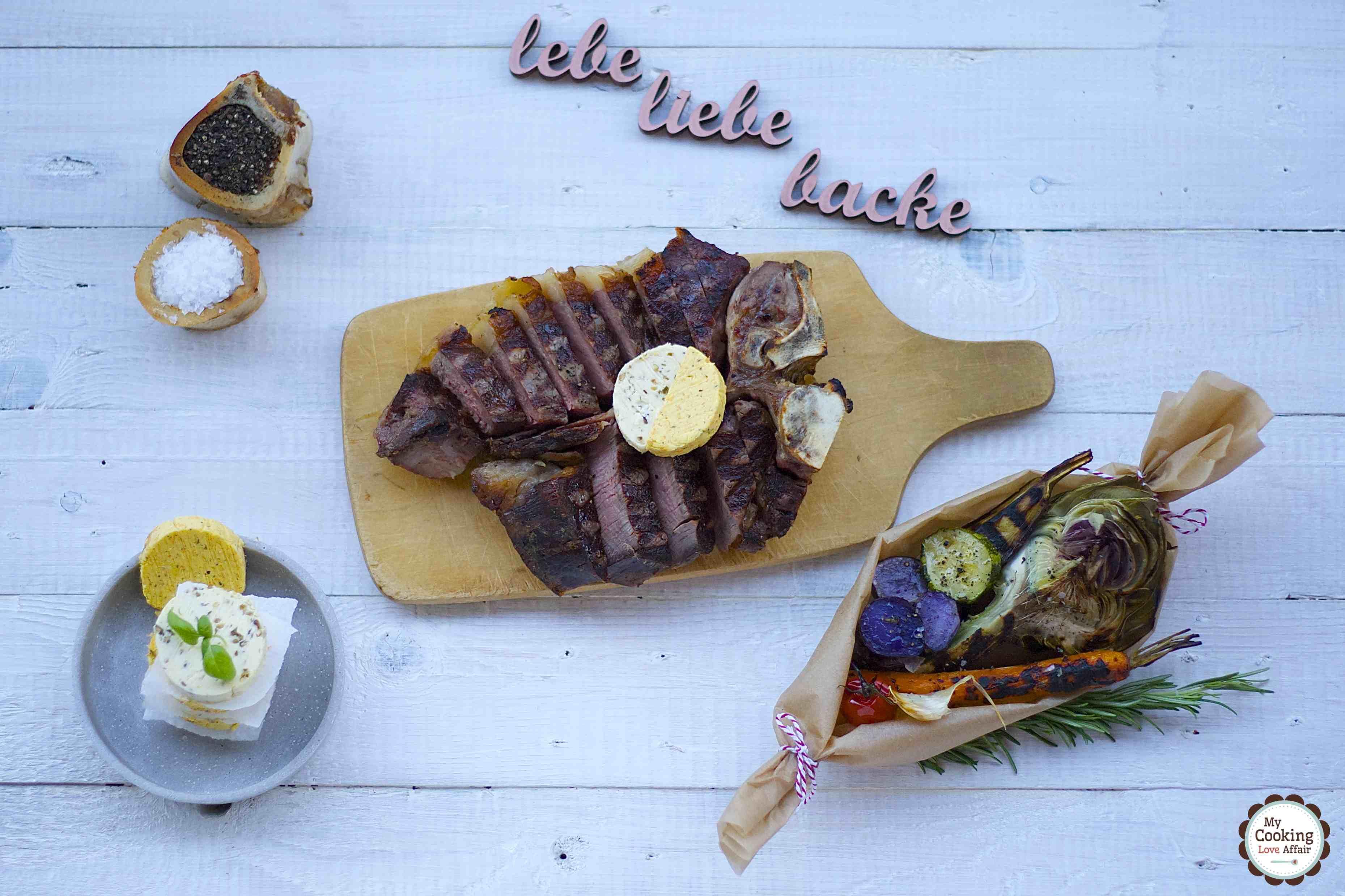 dryAged Porterhouse-Steak mit Grillgemüse und Kräuterbutter-Variationen