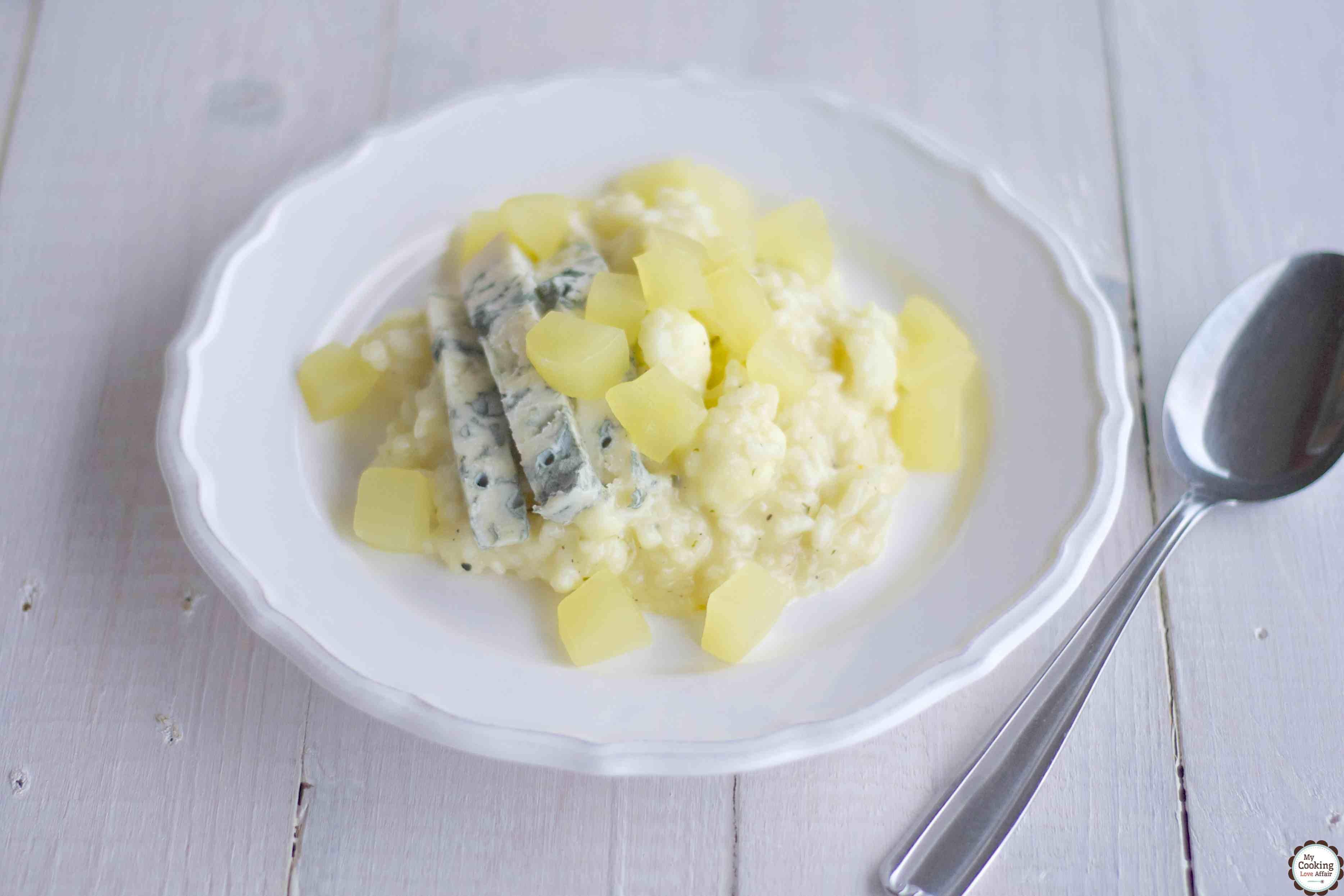 Blumenkohl-Risotto mit Gorgonzola und Senfgurken