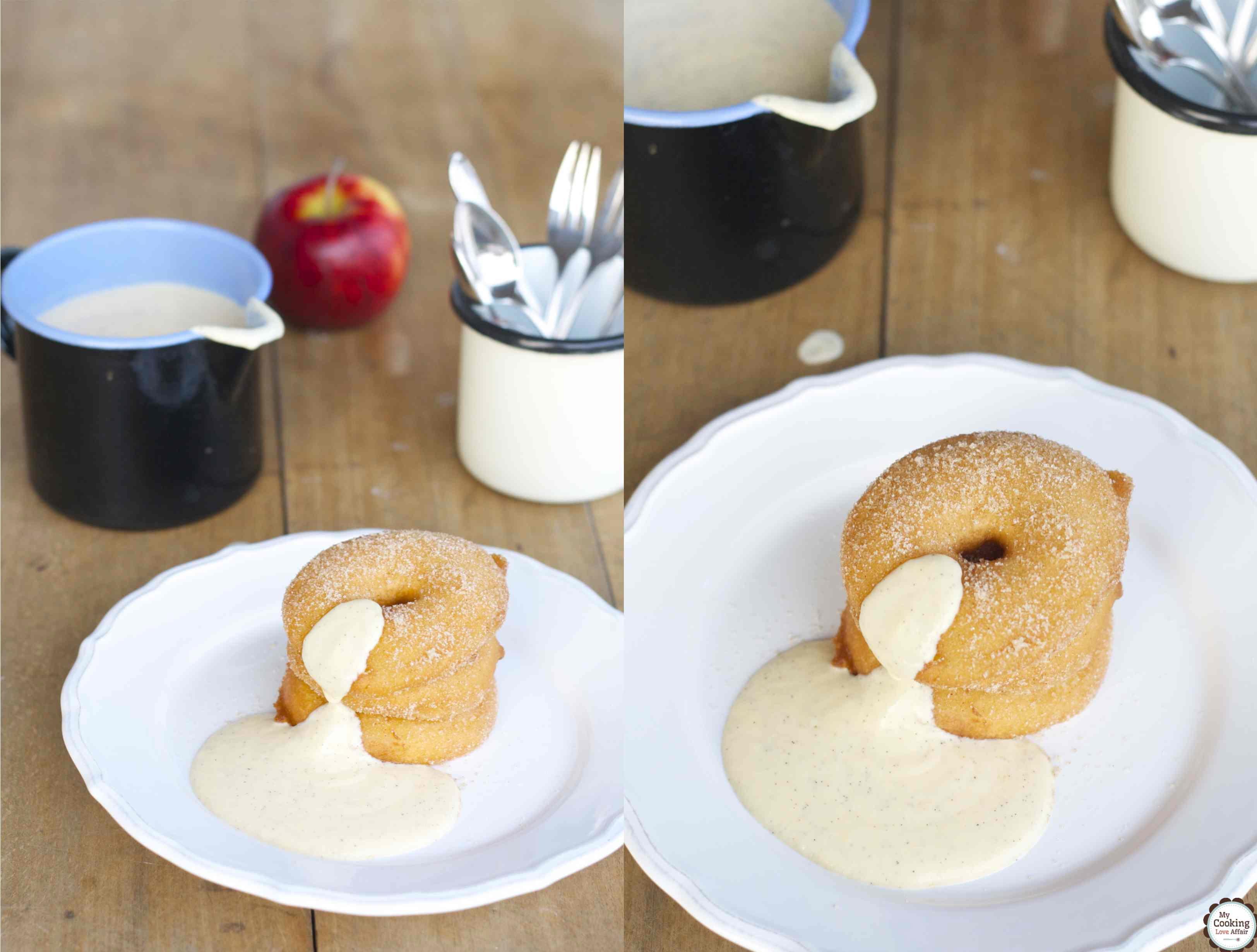 Apfelküchle im Bierteig und Vanillesoße