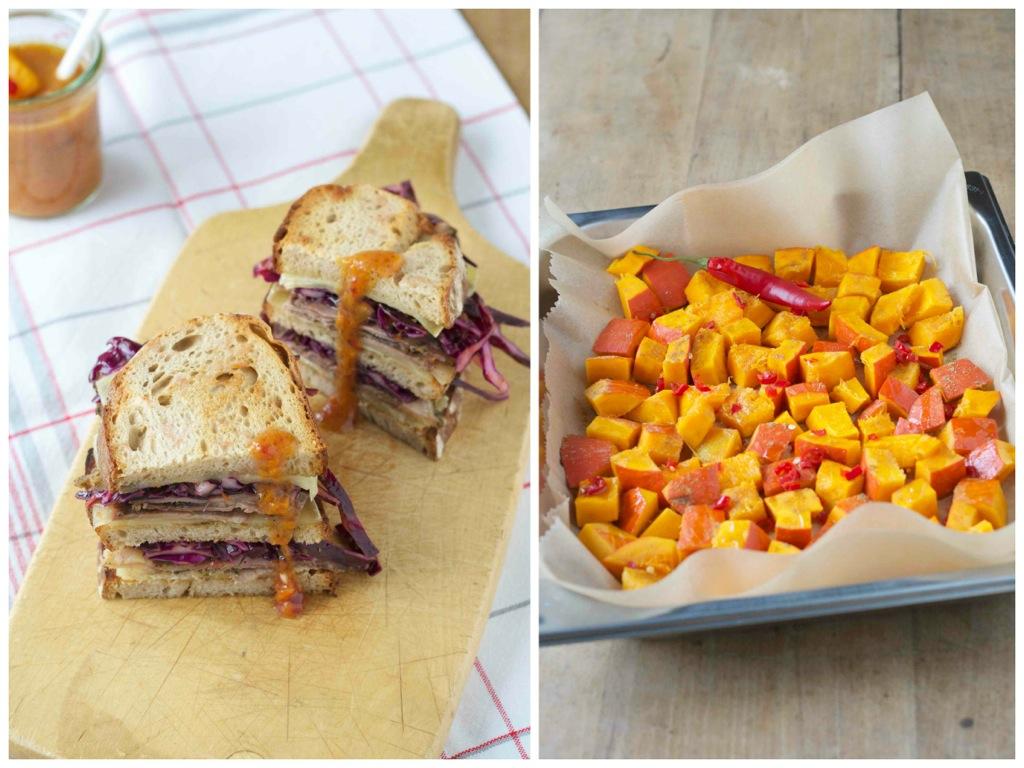 Rock'n Roastbeef-Sandwich mit Rotkrautsalat und Preiselbeer-Kürbis-Dressing