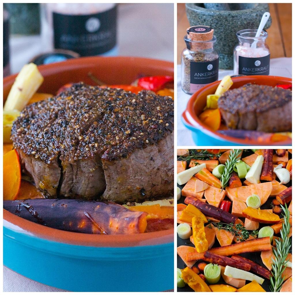 Filetsteaks mit Pfefferkruste und winterliches Ofengemüse