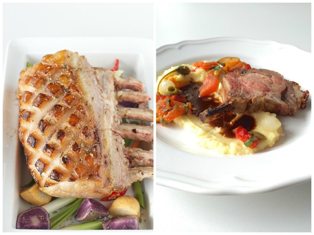 Mangalitza Wollschwein mit Kartoffel-Sellerie-Püree, Jus und Peperonata