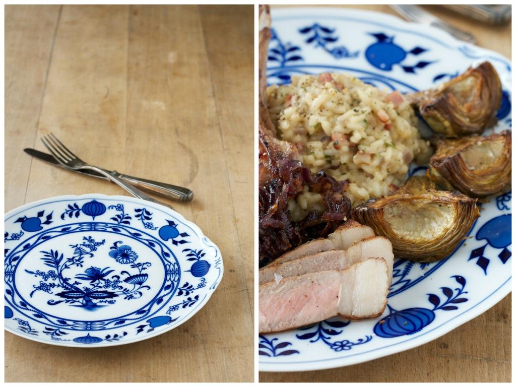 Schwarzbierrisotto und Stilkotelett vom Mangalitza Wollschwein Sous Vide