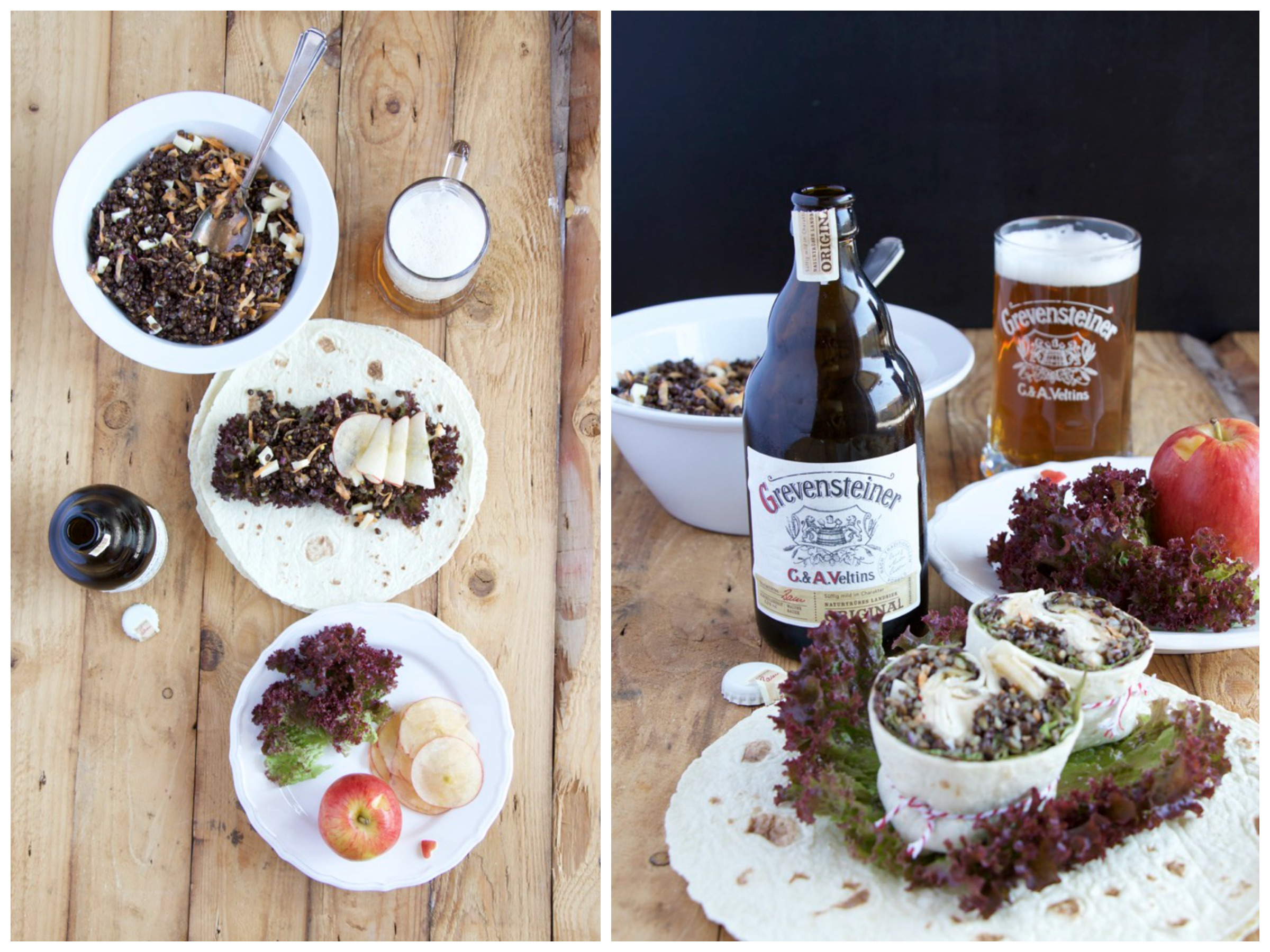 Wrap mit schwarzen Linsen, hauchdünnen Apfelscheiben, Eichblattsalat, gehobelte Möhren, Bergkäse und Apfelessig-Bier-Vinaigrette