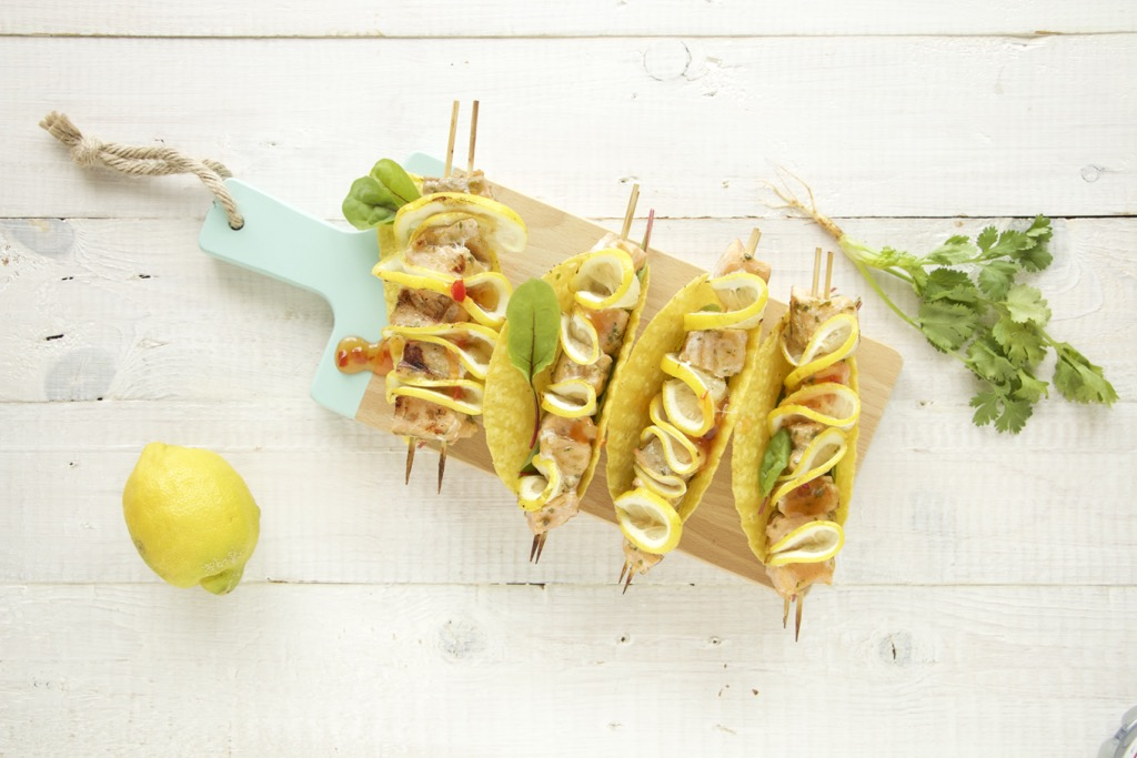 Lachs-Tacos mit Zitrone